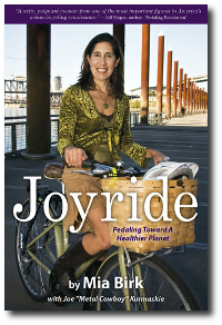 Cover of Joyride, author Mia Birk on her bicycle